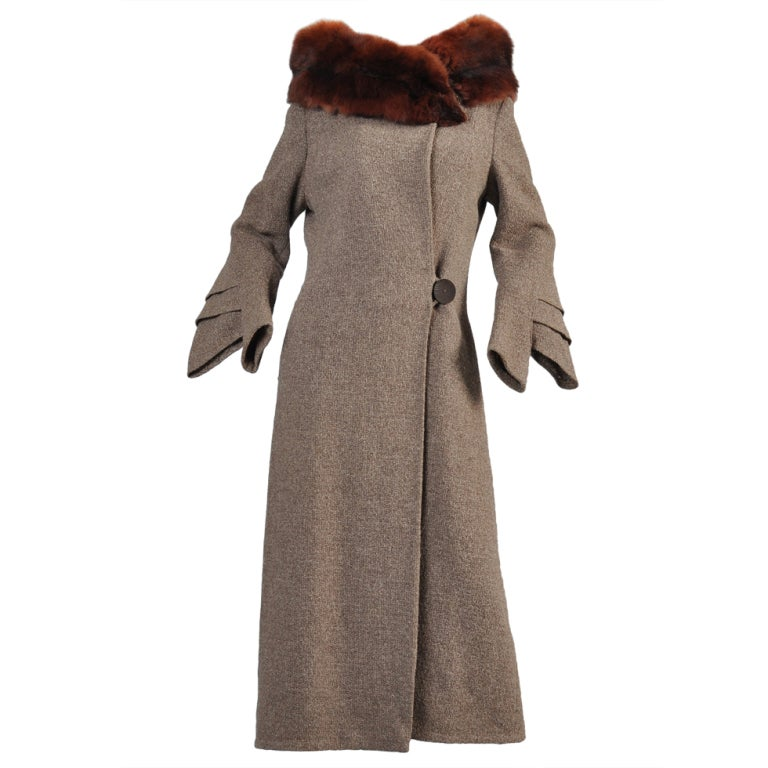 Late 1920s Art Deco Fin Sleeve Fox Collar Coat At 1stdibs