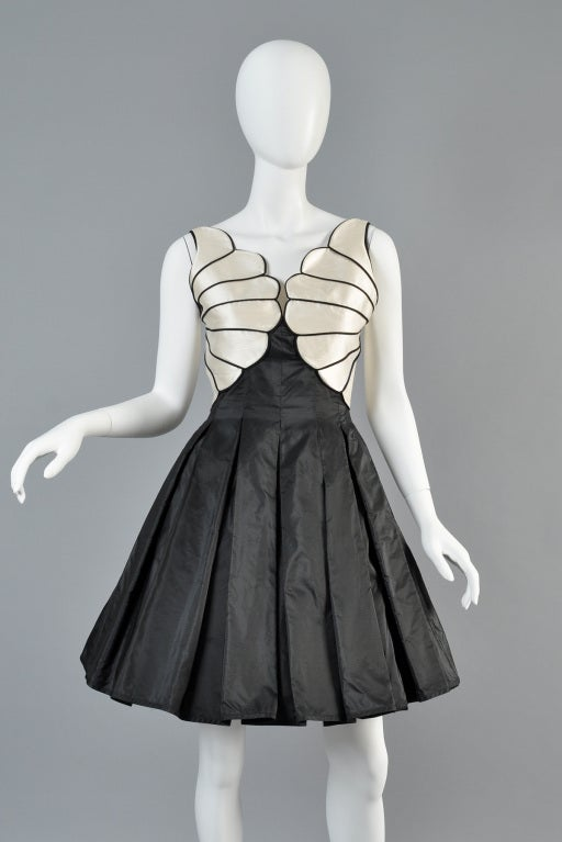 Valentino 1980s Scallop Bust Silk Cocktail Dress image 3
