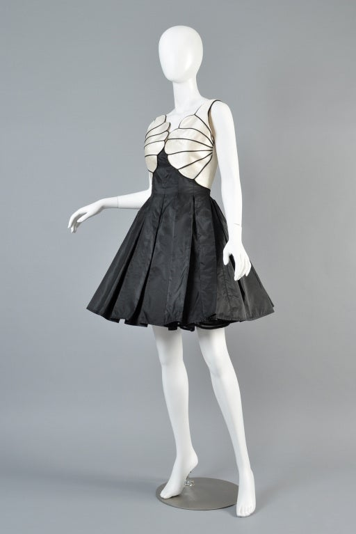 Valentino 1980s Scallop Bust Silk Cocktail Dress image 5