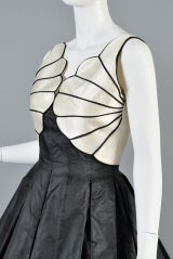 Valentino 1980s Scallop Bust Silk Cocktail Dress thumbnail 6