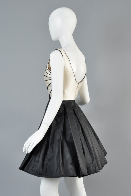 Valentino 1980s Scallop Bust Silk Cocktail Dress image 7