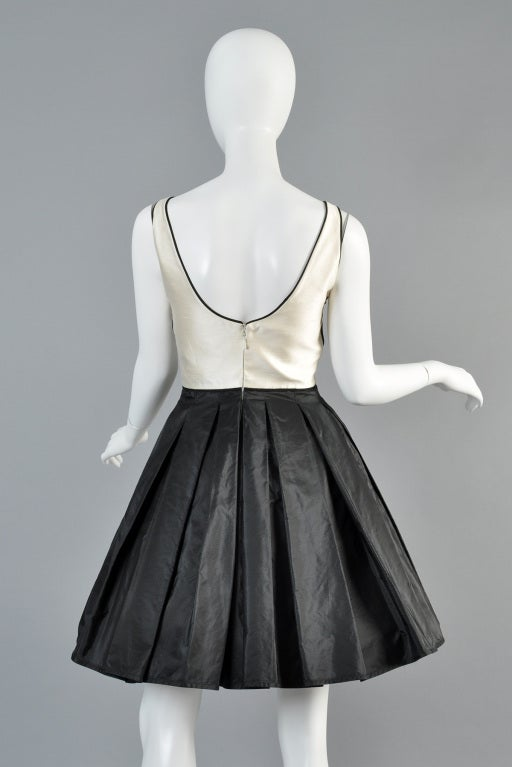 Valentino 1980s Scallop Bust Silk Cocktail Dress image 8