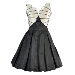 Valentino 1980s Scallop Bust Silk Cocktail Dress thumbnail 1