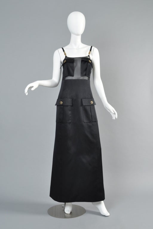 1996 Versace Couture Sheer Silk Pocket Gown at 1stdibs
