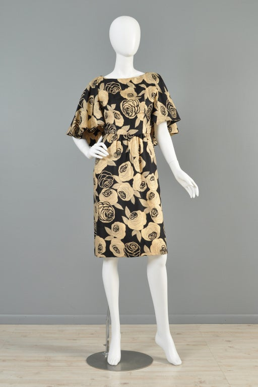 Christian Dior Rose Printed Silk Cape Dress image 2