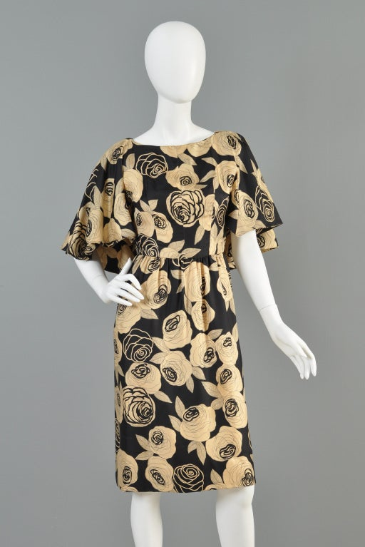 Christian Dior Rose Printed Silk Cape Dress image 3
