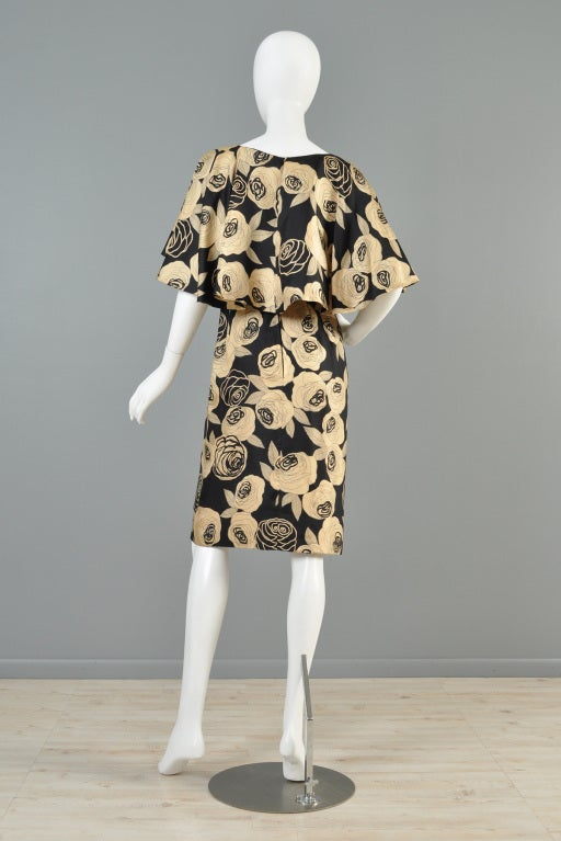 Christian Dior Rose Printed Silk Cape Dress image 9