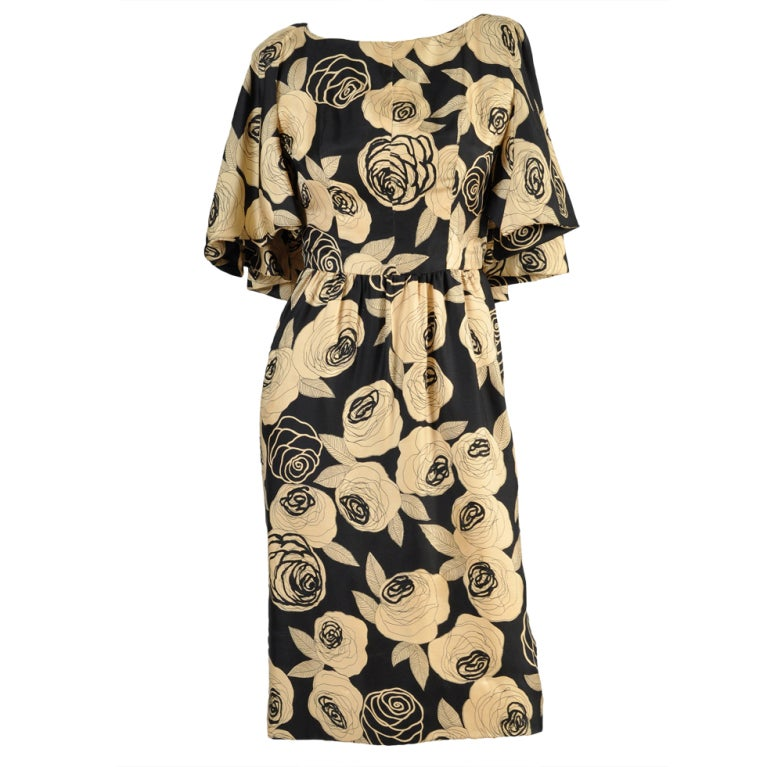 Christian Dior Rose Printed Silk Cape Dress