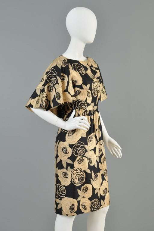 Christian Dior Rose Printed Silk Cape Dress image 4