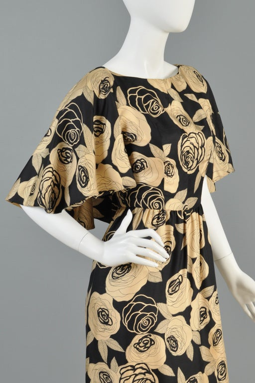 Christian Dior Rose Printed Silk Cape Dress image 5