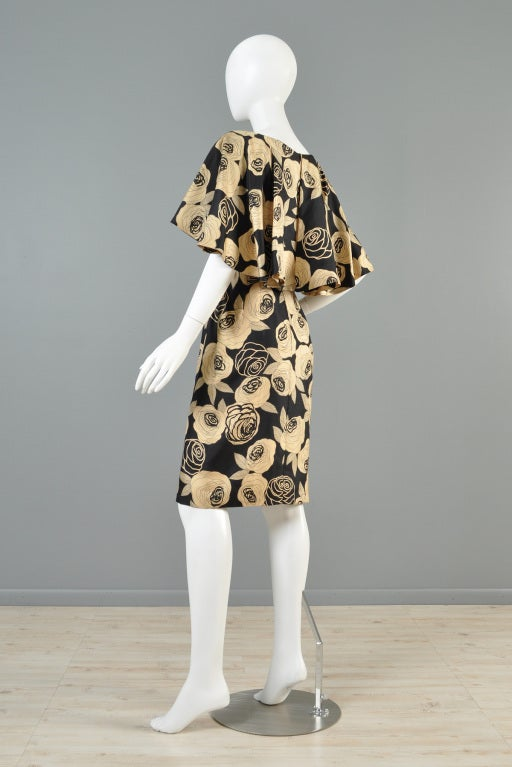 Christian Dior Rose Printed Silk Cape Dress image 6