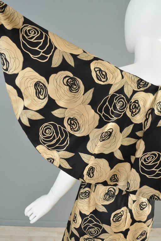 Christian Dior Rose Printed Silk Cape Dress image 8