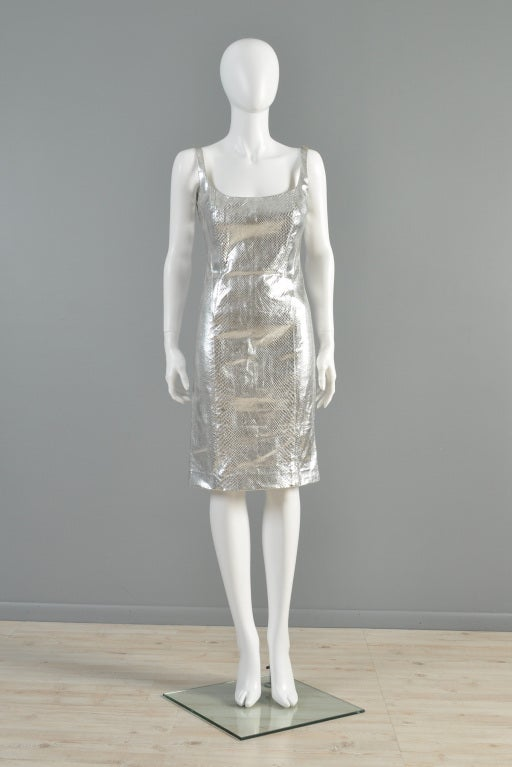 Versace Couture Metallic Silver Python Skin Dress image 2