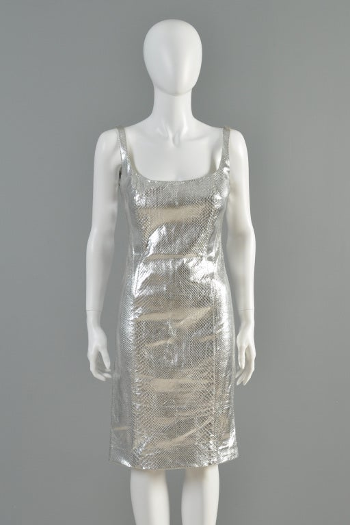 Versace Couture Metallic Silver Python Skin Dress image 3