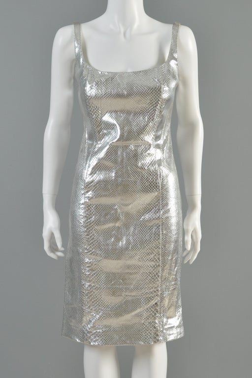 Versace Couture Metallic Silver Python Skin Dress image 4
