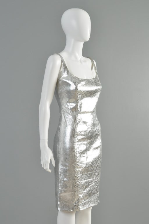 Versace Couture Metallic Silver Python Skin Dress image 6