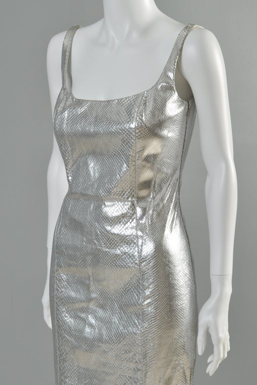 Versace Couture Metallic Silver Python Skin Dress image 7