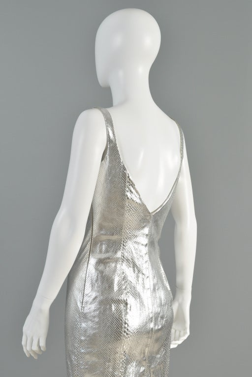 Versace Couture Metallic Silver Python Skin Dress image 8