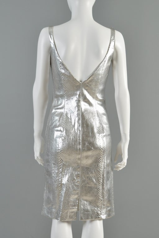 Versace Couture Metallic Silver Python Skin Dress image 9