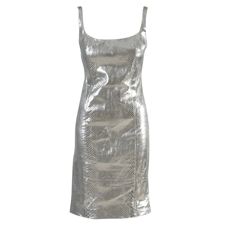 Versace Couture Metallic Silver Python Skin Dress