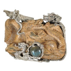 Bob Stringer Carved Ivory, Labradorite + Sterling Dragon Pendant