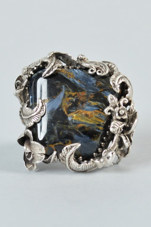 Bob Stringer Agatized Petrified Wood Sterling Silver Ring image 2