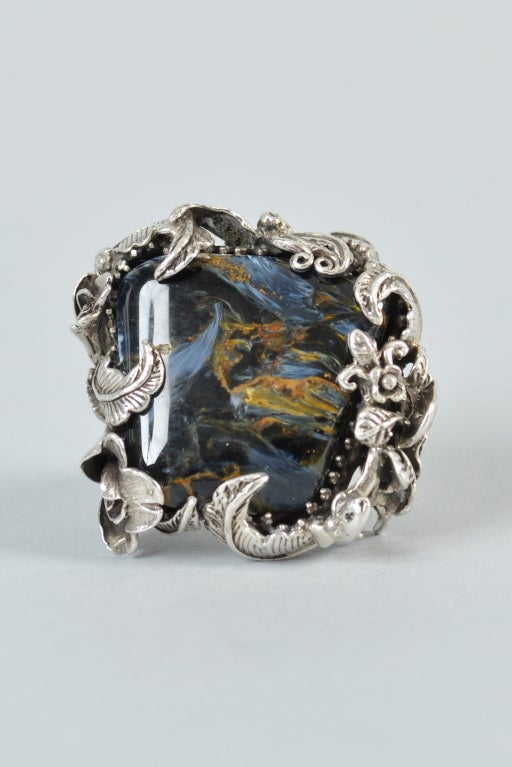 Bob Stringer Agatized Petrified Wood Sterling Silver Ring image 3