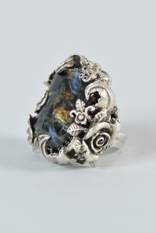 Bob Stringer Agatized Petrified Wood Sterling Silver Ring image 4