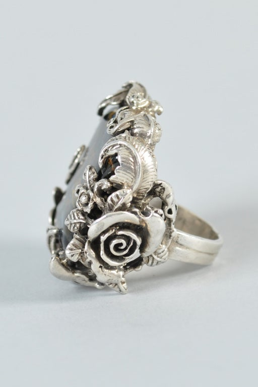 Bob Stringer Agatized Petrified Wood Sterling Silver Ring image 5