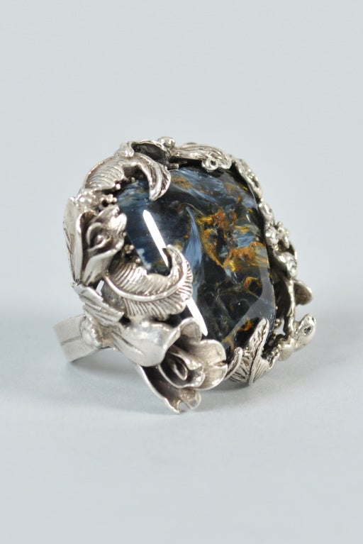 Bob Stringer Agatized Petrified Wood Sterling Silver Ring image 8