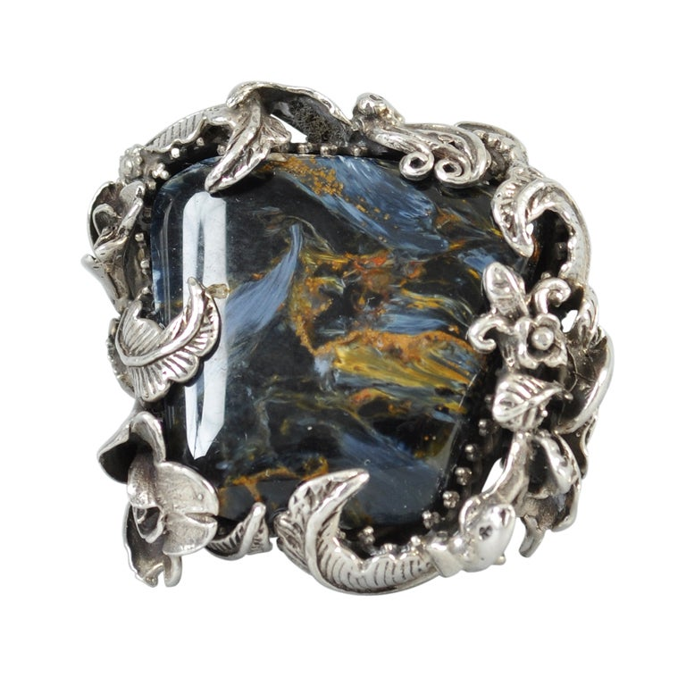 Bob Stringer Agatized Petrified Wood Sterling Silver Ring