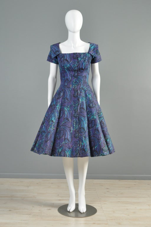 Estevez for Grenelle 1950s Paisley Print Party Dress image 2