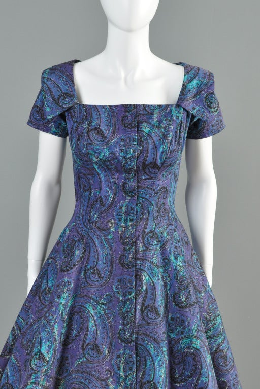 Estevez for Grenelle 1950s Paisley Print Party Dress image 3
