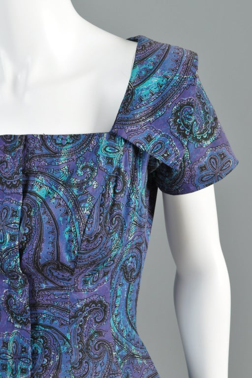 Estevez for Grenelle 1950s Paisley Print Party Dress image 4