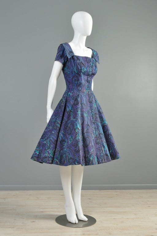 Estevez for Grenelle 1950s Paisley Print Party Dress image 6