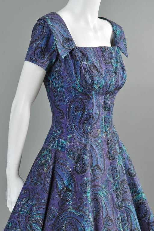 Estevez for Grenelle 1950s Paisley Print Party Dress image 7