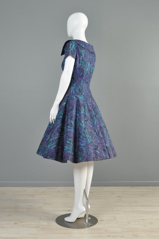 Estevez for Grenelle 1950s Paisley Print Party Dress image 8