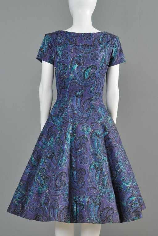Estevez for Grenelle 1950s Paisley Print Party Dress image 9