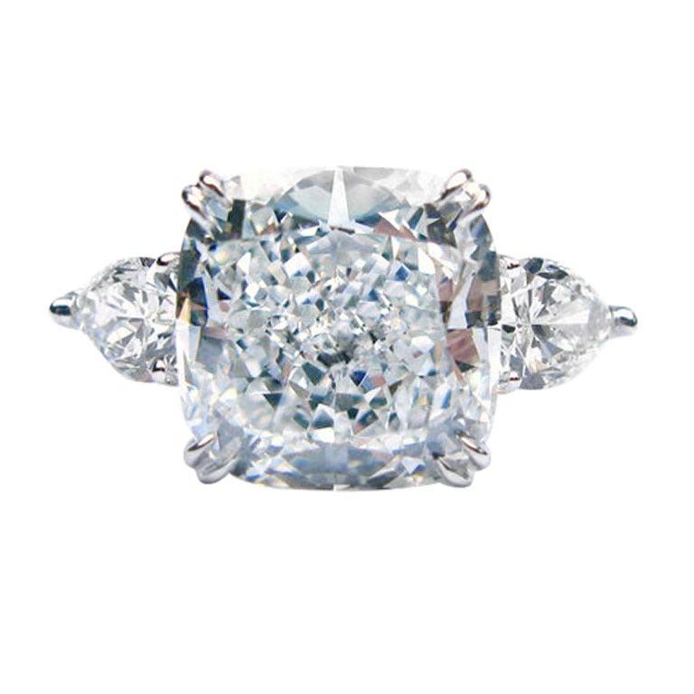 J. Birnbach GIA Certified 8.15 ct E VS2 Cushion Cut Diamond Ring