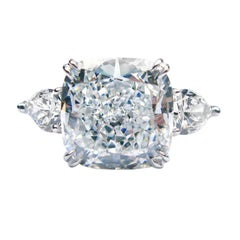J. Birnbach GIA Certified 8.15 ct E VS2 Cushion Cut Diamond Ring