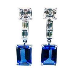 Emerald Cut Tanzanite and Diamond Drop Earrings