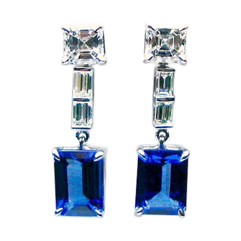Emerald Cut Tanzanite and Diamond Drop Earrings