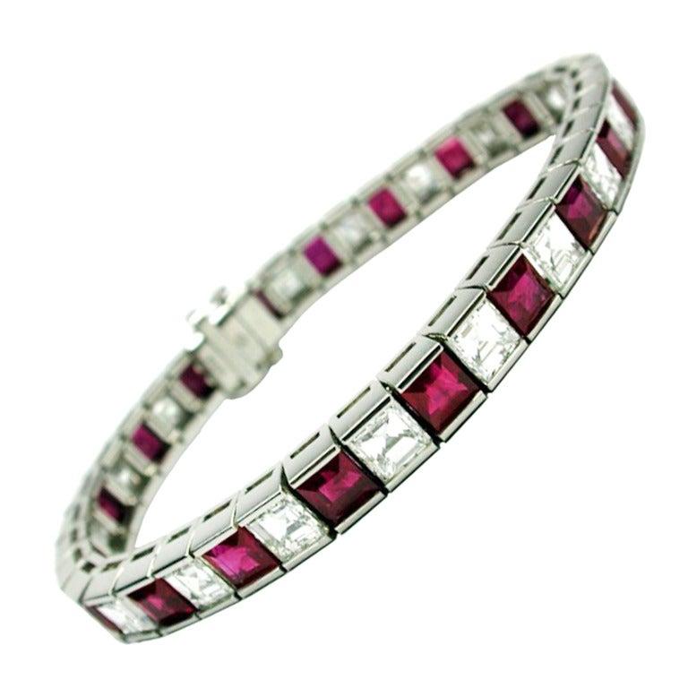 Diamond And Ruby Tennis Bracelet In Platinum At 1stdibs