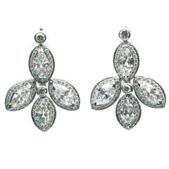 FRED LEIGHTON - Marquise cut Diamond Drop Earrings