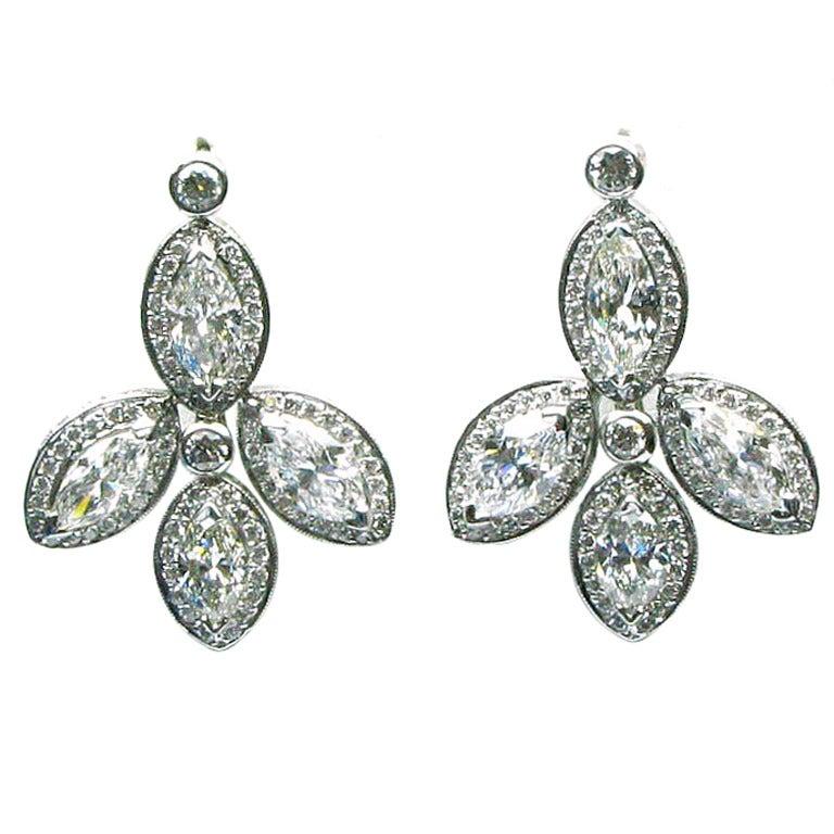FRED LEIGHTON - Marquise cut Diamond Drop Earrings