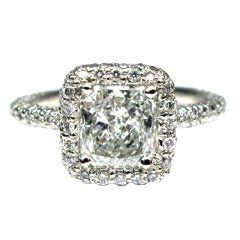 1.01 carat GIA F VS1 Radiant Diamond Frame Ring