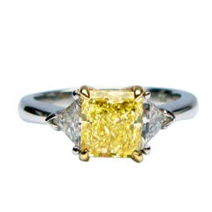 1.54ct Canary Yellow SI1 Radiant Ring with Trillions