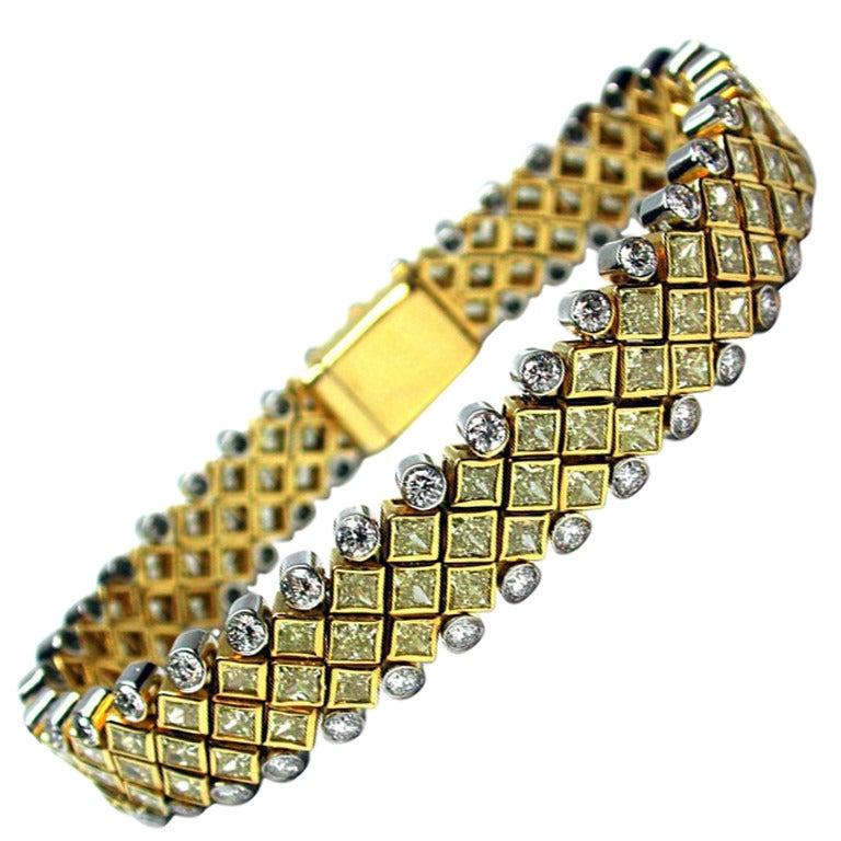 Fancy Yellow and White Diamond Bracelet
