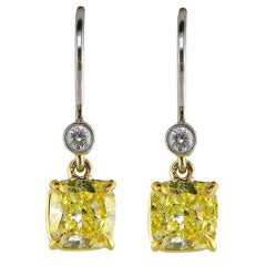 Natural Fancy Yellow Diamond Cushion Cut Drop Earrings
