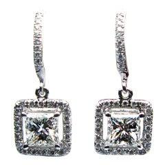 1.50 carats H SI1 Princess Diamond Frame Earrings